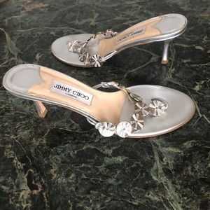 Jimmy Choo London Embellished Silver Slides,s 38.5